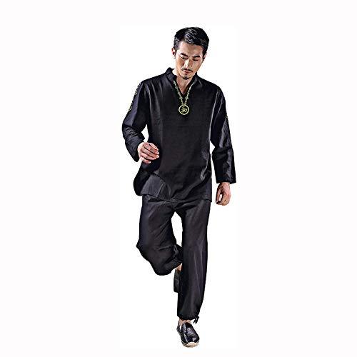 LINGS Mens Tai Chi Juegos del Juego de la Yoga con el Tai Chi Uniforme Artes Marciales Ropa meditación Zen algodón Traje,Negro,L/Tag XL