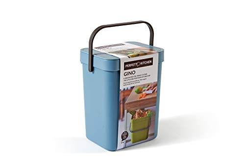 Perfetto Gino Abfalleimer für Feuchtigkeit, organisch, zum Aufhängen, Farbe Avio, 5 Liter, Kunststoff, Hellblau