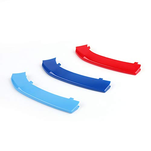Topteng dreifarbiger ABS-Aufkleber, 3D-Auto-Kühlergrill-Streifen-Abdeckung für B-M-W 2er-Serie 10rod