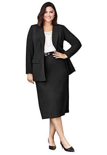 Jessica London Women's Plus Size Single-Breasted Skirt Suit - 18, Black