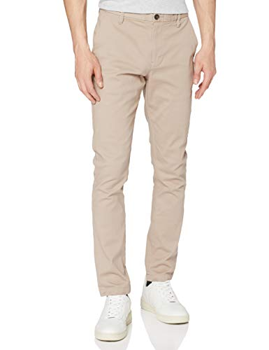 Marchio Amazon - MERAKI Pantaloni Slim Fit in Cotone Uomo, Beige (Sand), 38W / 34L, Label: 38W / 34L