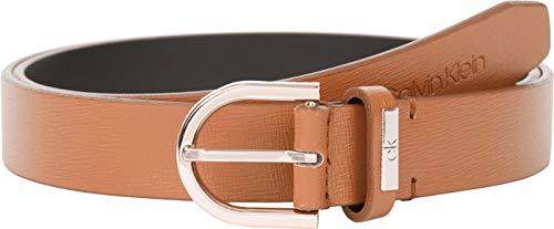 Calvin Klein Round Belt 25MM Saffiano Cintura, Cognac, 90 cm Donna