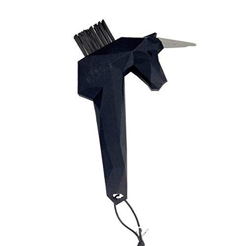 Goodsmith Einhorn Hufkratzer SCHWARZ | Hufauskratzer in einzigartigem Einhorn Design | Ideal zum Säubern von Pferde Hufen | Austauschbare Bürste | Spitze aus hochwertigem Edelstahl
