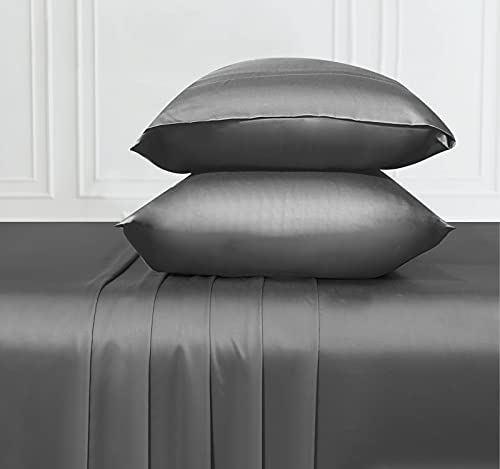 Soft & Silky Cooling Sheets Fabric from 100% Bamboo, Wrinkle Resistant Queen Size Bamboo Sheets with Deep Pocket Fitted Sheet, Rayon (Dark Gray)