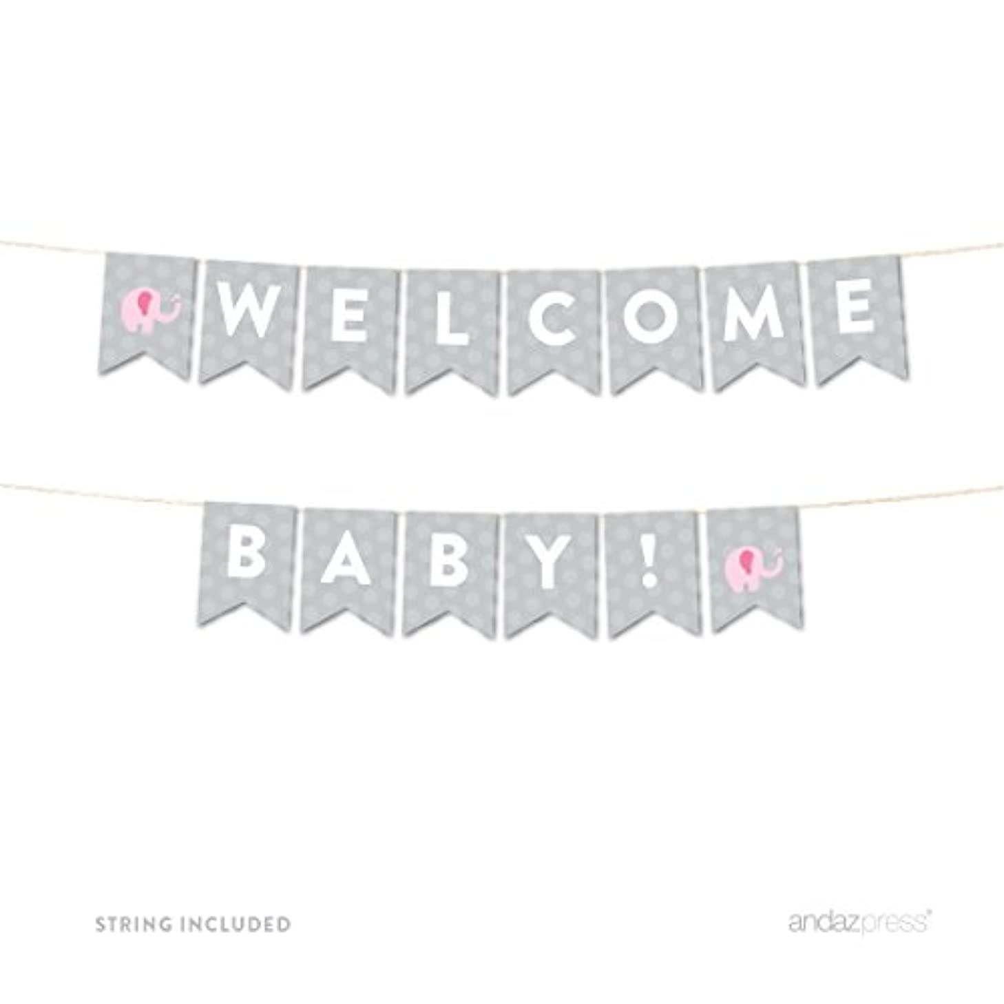 Andaz Press Girl Elephant Baby Shower Collection, Hanging Pennant Party Banner with String, Welcome Baby!, 5-Feet, 1-Set, Decor Paper Decorations