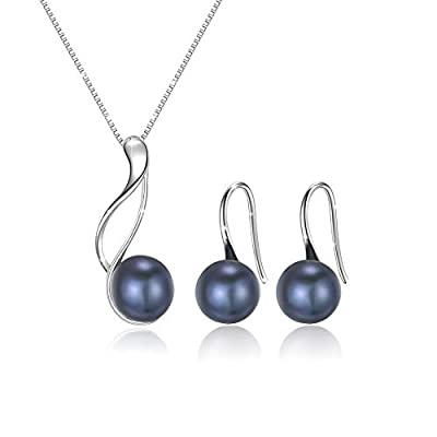 OneSight Sterling Silver Freshwater Cultured Pearl Jewelry Necklace Earrings Set for Women