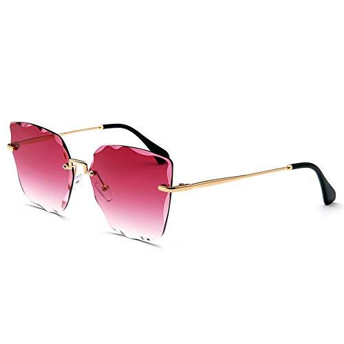 WHSS Gafas de Sol Nuevas Gafas De Sol Sin Montura De Color De Cristal. (Color : Red)