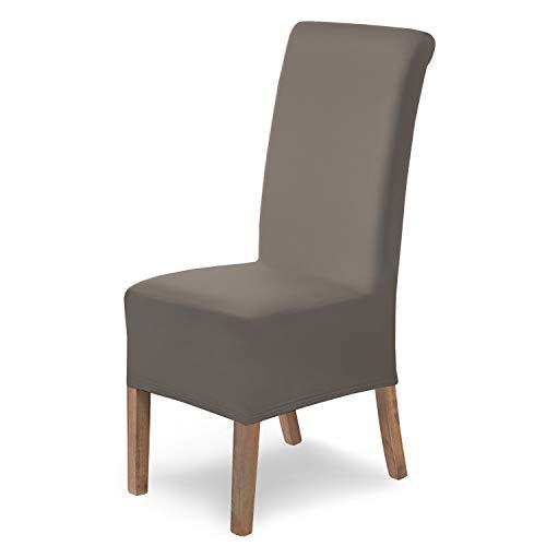 SCHEFFLER-Home Stretch Stuhlhusse Lena, elastische Stuhlabdeckung, Stuhlhussen Schwingstühle, Spannbezug mit Gummiband, Elegante Stuhlbezüge, Taupe