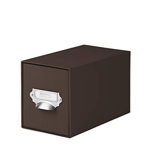 Rössler 1327452870 - S.O.H.O. Aufbewahrungs CD-Schubladenbox, mit beschriftbarem Einsteckschild und Griff, espresso