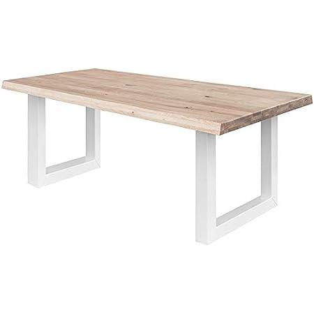 COMIFORT - Table à Manger - Bureau en Chêne Massif Blanchi, Fabriqué en Europe, Bords Arrondis, Pieds en Acier, Finition Blanche, Dimensions 200 x 100 cm