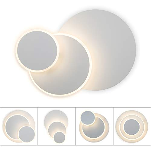 Lightess 15W LED Wandleuchte Wandlampe Innen Weiss Rund Designlampe 3 In 1 Eclipse Design Beleuchtung Warmweisse Wandstrahler Modern Lampe aus Alu für Schlafzimmer Wohnzimmer Korridor Flur usw.