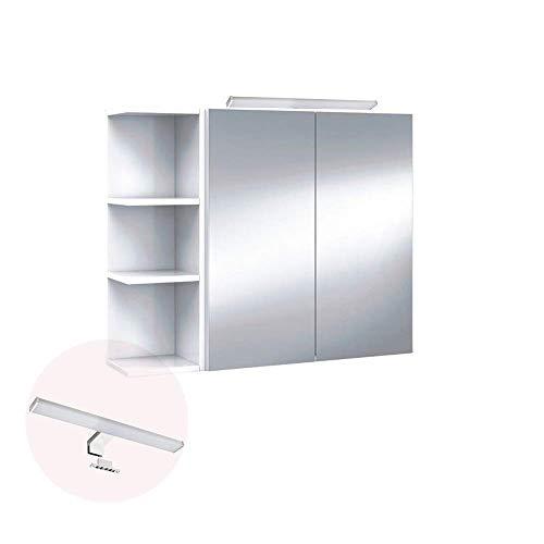 HABITMOBEL Conjunto Mueble de baño camerino 2 Puerta Espejo con ILUMINACIÓN LED incluida + ESTANTERÍA