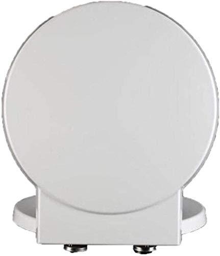 Lianlili WC-Sitz Toilettendeckel mit antibakterieller Harnstoff-Formaldehyd-Harz Mute verdicken Toilettensitzabdeckung for runde Form WC, White-41,1-45,7 * 40CM