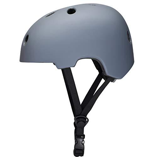 corki Upgraded Skateboard Helmet CPSC Certified,Comfortable Kids Bike Helmet 2.5-16 Years for Cycling Skateboarding Scooter Roller Skate Inline Skating Rollerblading Longboard BMX Gray Small