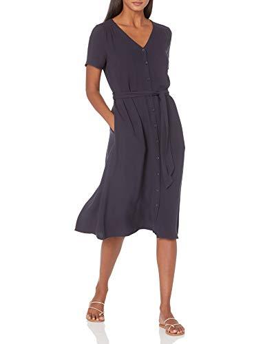 Amazon Essentials Short-Sleeve Midi Button Front Tie Dresses, Navy, US S (EU S - M)