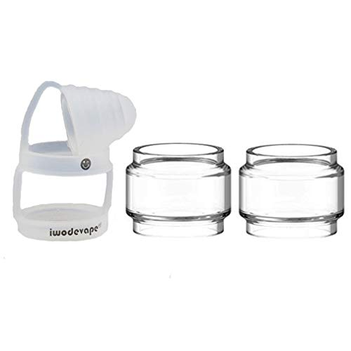 CENGLORY TFV12 Prince Bulb Glass Rings Silicone Anti Slip Band with Attached Drip Tip Cover Clear Tube (Clear)