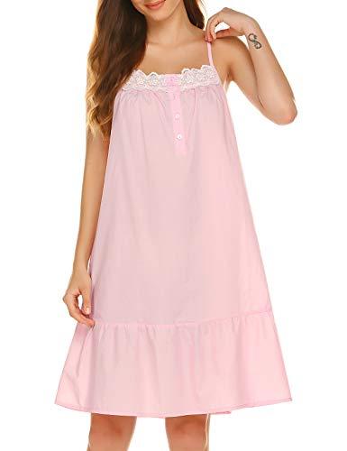 Ekouaer Cotton Nightgown for Women Victorian Sleepwear Lace Sleeveless Nightgown Sexy Nightwear Pink Sleepwear