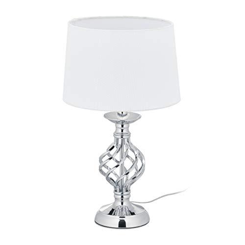 Relaxdays Tischlampe modern, Nachttischlampe Touch, 3 Stufen dimmbar, E14, Tischleuchte edel, 43,5 x 25 cm, silber/weiß