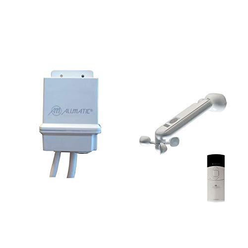 KIT LUZ + VIENTO + LLUVIA. Kit de automatización ALLMATIC para persiana doméstica o toldo. Central de un canal + sensor de luz, viento y lluvia y mando de un canal.