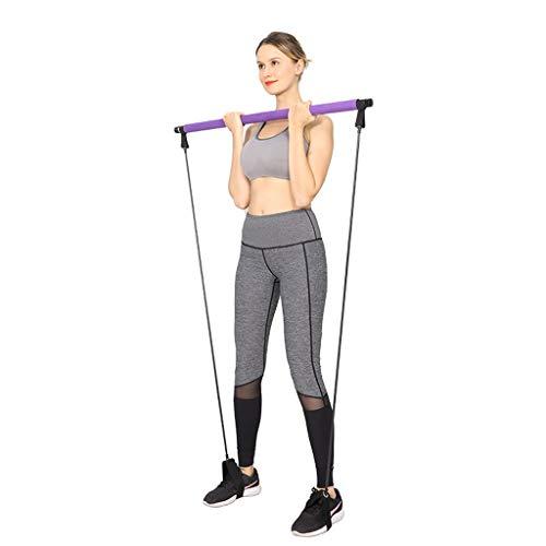 Gfbyq Pilates barkit med motståndsband – yoga övning pilates stick-bärbar hem gym träningspaket– yoga träningsstång med lång fotögla för total kroppsträning – toning bar för yoga