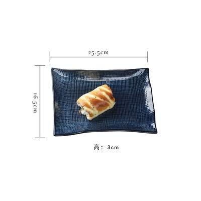 SUNXK Rechthoekige lade 12 inch blauwe oven veranderen creatieve grote schaal sushi barbecue lamskoteletten kip hakken schotel huishoudelijke plaat