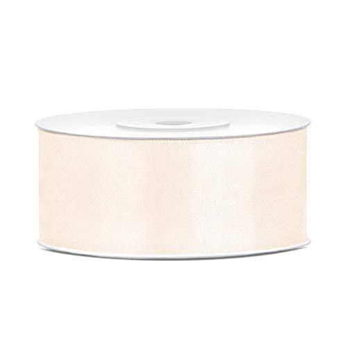 DaLoKu Satinband 6/12/25/38/50/100mm x 25m Geschenkband Schleifenband, Größe: 25mm x 25m, Farbe: helles Creme