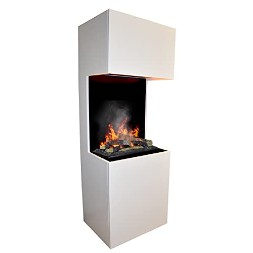GLOW FIRE Beethoven Elektrokamin Opti Myst 3D Wasserdampf Feuer Opti-myst Cassette 600, elektrischer Raumteiler Standkamin mit Fernbedienung | Regelbarer Flammeneffekt, 60 cm, Weiß