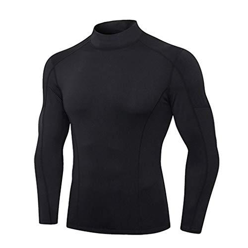 GreatestPAK Fitness T-Shirt Herren Streifen Schweißabsorbierend Atmungsaktiv Sport Top Eng Freizeit Schnell Trocknend Stretch Langarm Shirt,Schwarz,XL