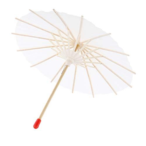 IPOTCH Mini Blank Cocktailspieße Mini Sonnenschirm Form Cocktail Picks Kuchen Topper Cupcake Toppers Party Supplies - Weiß, 20 cm