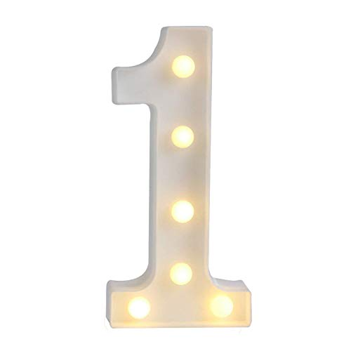 Ogrmar Decorative Led Light Up Number Letters, White Plastic Marquee Number Lights Sign Party Wedding Decor Battery Operated (1)