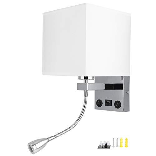 Beisha Aplique de Pared LED, Aplique de Pared LED Pantalla de Tela Moderna Aplique de Lectura de cabecera de Dormitorio USB E27 100‑240V