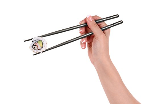 finessCity Titanium Chopsticks (New Cases) Extra Strong Ultra Lightweight Professional (Ti), Chopsticks Comes Free New Aluminium Case (Black)