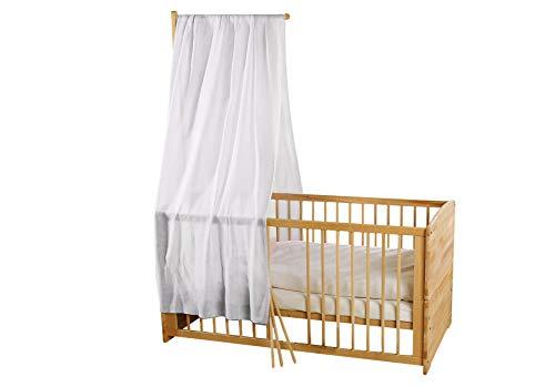Bio Baby Betthimmel 100% Bio-Baumwolle (kbA) GOTS zertifiziert, Weiß, 115 x 300 cm