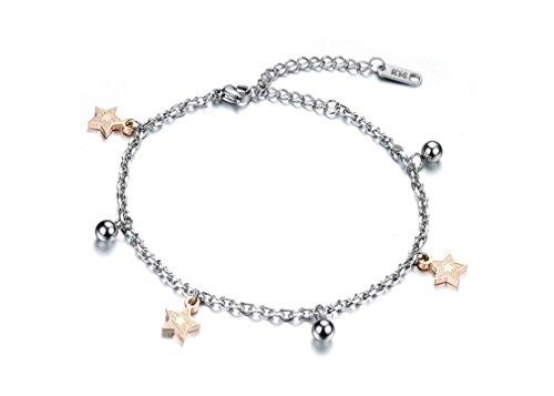 Armband dames meisjes vrouwen armband 316L titanium staal rose goud met hanger sterren klok zomer charm armketting, verstelbaar, allergievrij, Valentijnsdag verjaardagscadeau (roségoud)