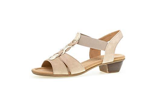 Gabor Damen Sandalen, Frauen Sandaletten,Moderate Mehrweite (G),Lady,Ladies,Women's,Woman,Sommerschuhe,Sommersandalen,Desert/beige,38 EU / 5 UK