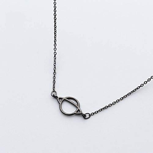 TYERY Collar Colgante de Plata S925, Cadena de Clavícula de Personalidad de Temperamento Colgante Negro de Moda Femeninacollar de plata s925
