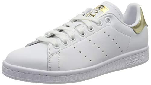 adidas Stan Smith W, Scarpe da Ginnastica Donna, Ftwr White/Ftwr White/Gold Met, 40 2/3 EU