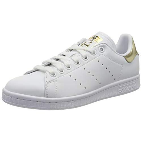 adidas Stan Smith W, Scarpe da Ginnastica Womens, Ftwr White/Ftwr White/Gold Met, 40 EU