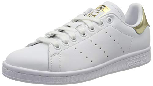 adidas Womens Stan Smith W Sneaker, Cloud White/Cloud White/Gold Metallic, 39 1/3 EU
