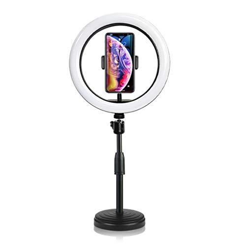 JCJ-Shop Luz De Maquillaje LED De Escritorio, Lámpara De Anillo De 10'con 3 Modos De Luz Regulables con Soporte para Teléfono y Bluetooth para Grabación De Videos De Youtube y Maquillaje