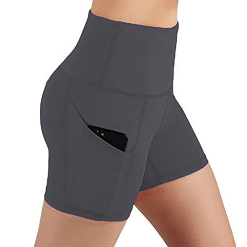 Lowest Prices! High Waist Out Pocket Yoga Shorts - Tummy Control Seamless Workout Running Athletic N...