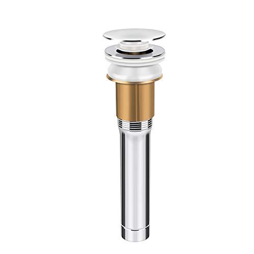 Waterdrops Ablaufgarnitur automatisch, Push Open für Waschbecken mit Überlaufstopfen, Waschbecken, Pop-Up-Ablaufgarnitur aus Kupfer, verchromt, Badezimmer-Zubehör Universal