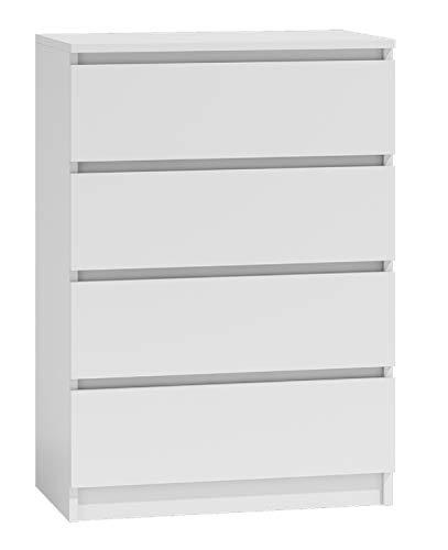 NOXEN - Cassettiera M4 70, colore: bianco, arredamento per camera da letto, utilizzabile come credenza, quattro cassetti, comodino e portaoggetti per casa, soggiorno e corridoio