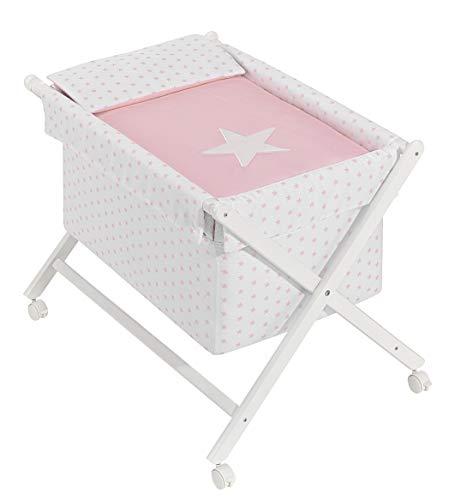 Minicuna mibebestore Plegable Estrella Rosa: Estructura + Vestidura + Colcha Desenfuntable + Colchón + Almohada