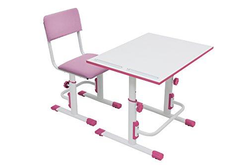 Polini Kids Set Schreibtisch mit Stuhl höhenverstellbar weiß-rosa