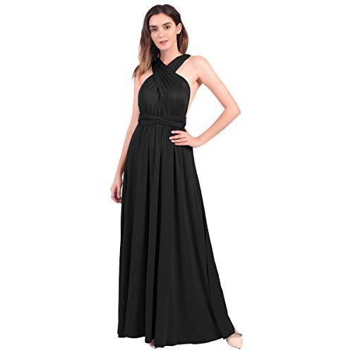 FYMNSI Vestido de Mujer Dama de Honor de la Boda Convertible de Múltiples Vías V-Cuello Sin Mangas Maxi Largo de Boho Noche Ceremonia Vestidos de Cóctel Elegante Verano Multiway Dress Negro L