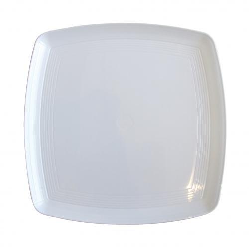 Plastico 1006 WH Platters- carré Plastique, Blanc (lot de 25)
