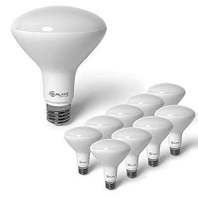 SunLake Lighting 10 Pack BR30 LED Bulb, 9.5W=65W, Dimmable, 2700K Soft White, E26 Base, Energy Efficient Recessed LED Flood Light Bulbs for Home, Ceiling Light, Office Space