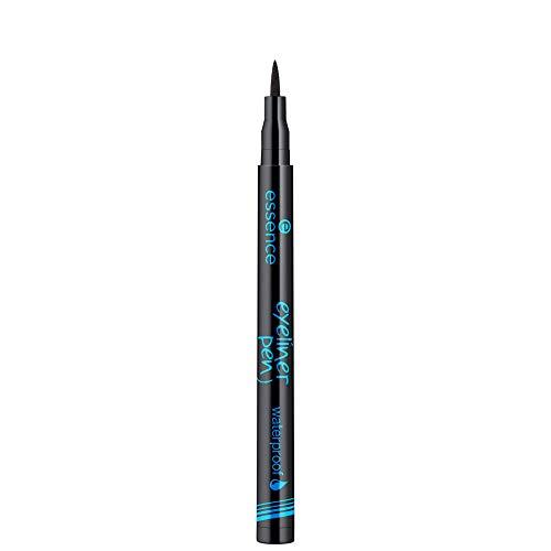 essence eyeliner pen waterproof, Eye Liner, wasserfest, Nr. 01 waterproof, schwarz, definierend, langanhaltend, wasserfest, vegan, ohne Parfüm (1ml)