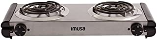 IMUSA USA GAU-80312 Electric Double Burner 1750-Watts, Stainless Steel, Silver